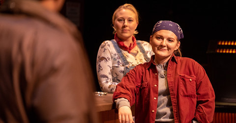 "Nicole Tigner (left) plays Jessie and Elise Martin plays Tracey in a scene from Lynn Nottage's Pulitzer Prize-winning ""Sweat,"" which continues its run at Linfield College Theater in McMinnville 7 p.m. Thursday through Saturday. Photo courtesy: Linfield College Theatre"