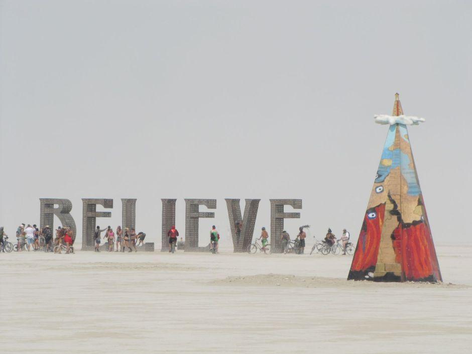 """Juergen Eckstein built """"Wolkenkuckuckshein"""" (right) at Burning Man in 2013.  Photo courtesy: Jeff Ouderkirk."""