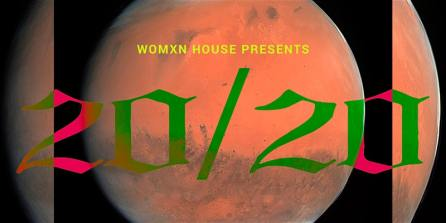 "Image of the ""blood moon"" (full moon with eclipse), overlaid with ""20/20"" in red and green gothic font."