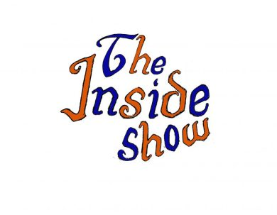 """Logo reading """"The Inside Show"""" in blue and orange hand-drawn letters."""