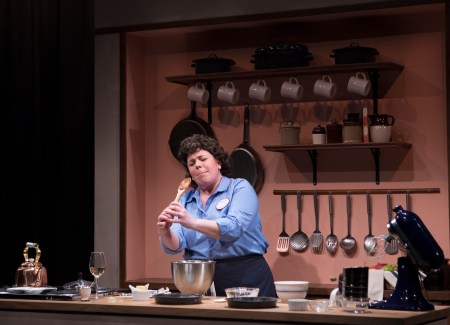 Angela Niederloh as Julia Child in Bon Appetit! Photo by Kate Szrom.