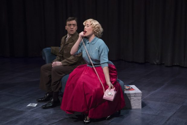 Emilie Faiella as Lucy and Geoffrey Schellenberg as Ben in The Telephone. Photo by Kate Szrom/Portland Opera.
