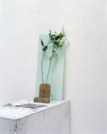 flowers leaning against glass on a plinth with sandpaper