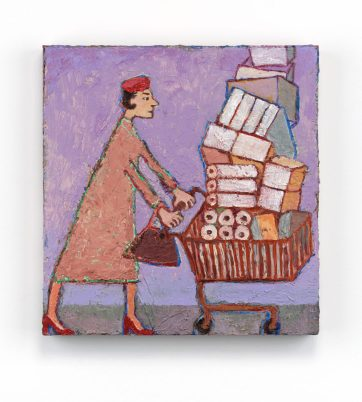 woman with towering shopping cart