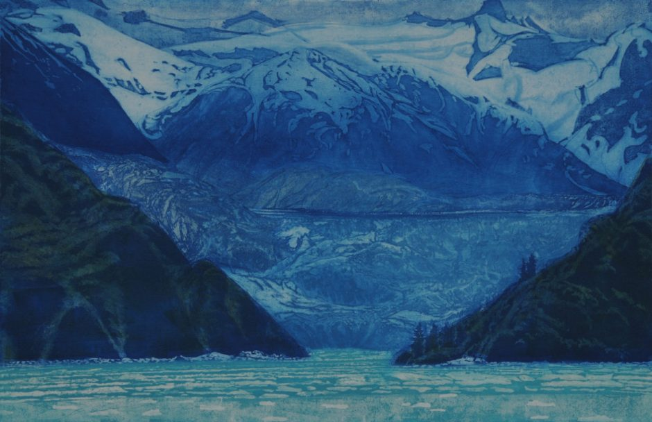 """South Sawyer Glacier, Tracy Arm, Alaska,"" by Greg Pfarr (etching and woodcut, 24 by 36 inches)"