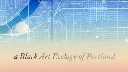 Logo of a Black Art Ecology of Portland, featuring a stylized map of the city and the project's name superimposed in serif italic font.