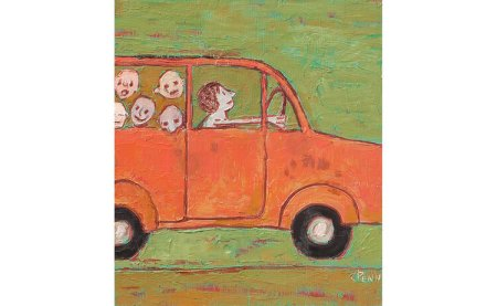 A roughly painted picture featuring the front half of a red four-door car entering the scene from the viewer's left, a worried-looking figure drives the car while five children's faces look out from the backseat. The background is olive green with no other details.