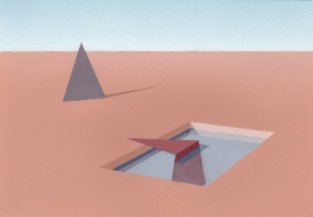 Gouache painting of a desert landscape with a dusty orange ground, containing a mauve triangle in one corner and a red folded triangle sitting in a rectangular reflection pool near the center