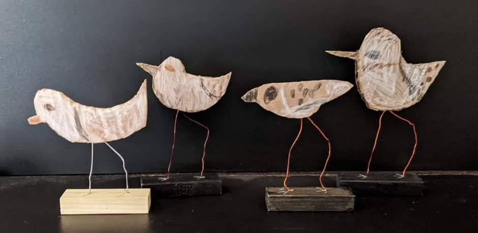 """The Wren siblings and two friends created a flock of sandpipers. Mother Helene Wren told the Lincoln City Cultural Center that during quarantine, """"art is our favorite activity to all do together, truly healing for the mind and soul."""" Photo courtesy: Helene Wren"""