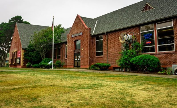 """The Lincoln City Cultural Center's """"Invest in Inspiration"""" campaign will turn the yard around the historic Delake School, which houses the center, into a plaza, park, paths, and parking. Photo courtesy: Lincoln City Cultural Center"""