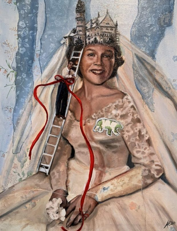 """""""Rose's Wedding"""" by Kerri Evonuk (mixed media, 11 by 14 inches, 2020)"""