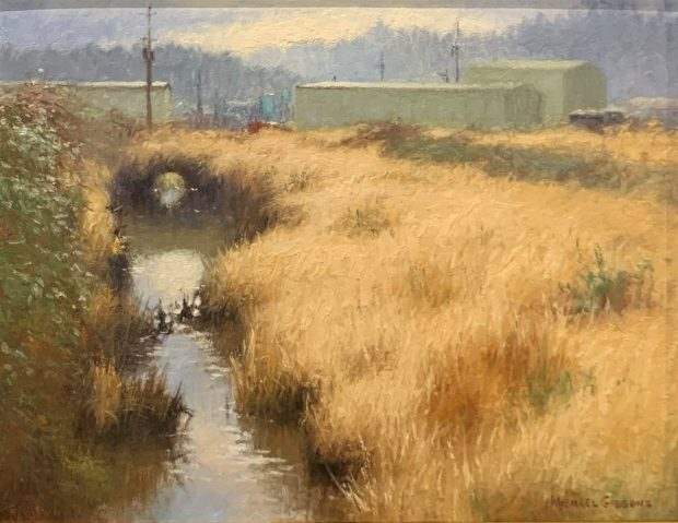 """""""Doyle Thorne's Ditch"""" by Michael Gibbons (oil, 1987)"""