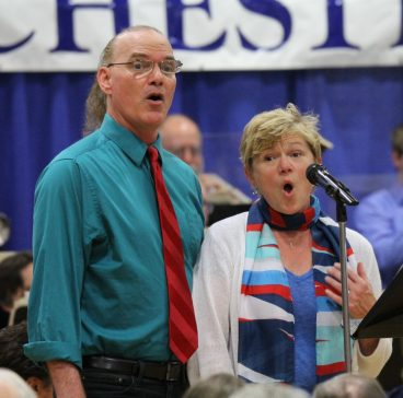 Husband and wife Peter and Katrina Theodore perform a song during the 2017 Newport Symphony concert. Photo courtesy: Newport Symphony Orchestra