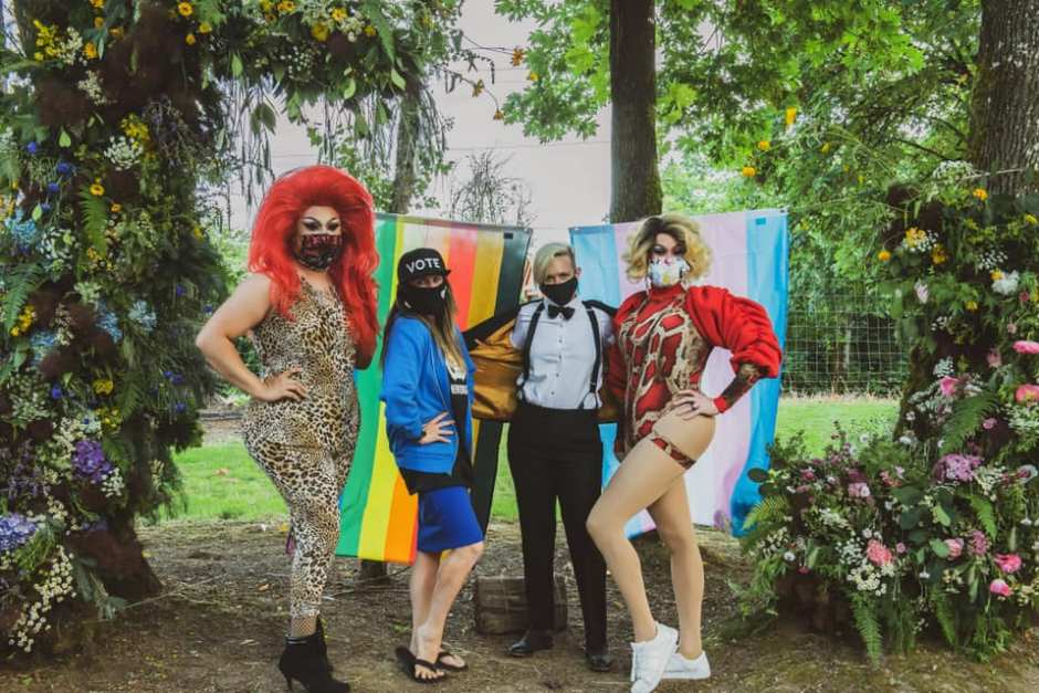 Drag queens Lylac (left) and Vajayjay (far right) join Kristen Stoller (middle left) and Remy Drabkin for Yamhill County's first wine country pride event, held this summer at Drabkin's vineyard in McMinnville. Photo by: Zach Goff, courtesy of: Remy Drabkin