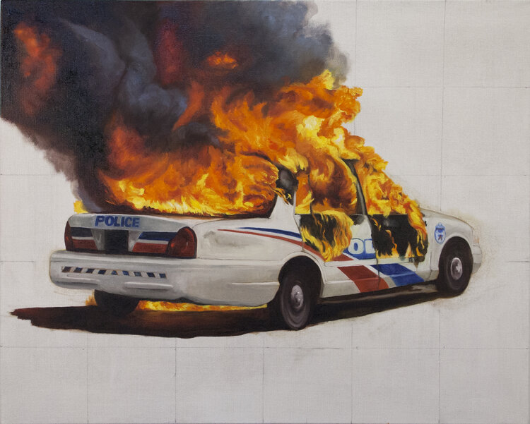 """""""Police Car Fire"""" by Natalie Niblack (oil on linen, 2020, 26 by 32 inches)"""