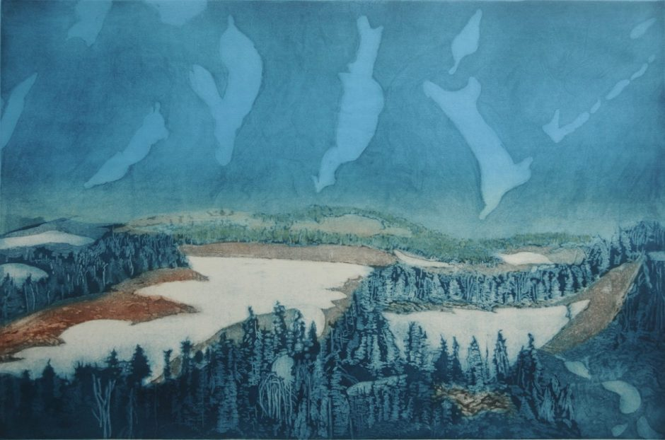 "Work by Corvallis artist Greg Pfarr, including ""Below North Sister, Central Oregon Cascades"" (etching, 32 by 43 inches) is displayed in the Newport Visual Arts Center's Runyan Gallery."