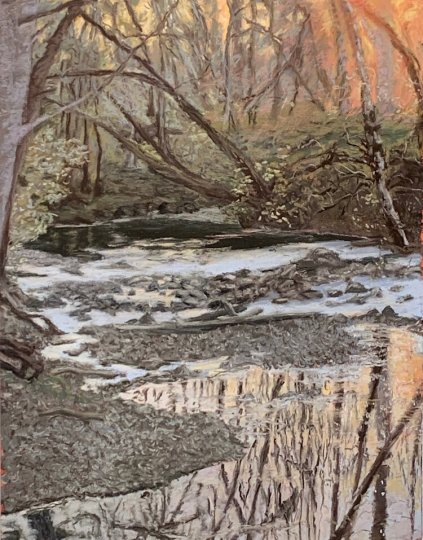 """""""Last of November"""" (pastel on paper, 15 by 12 inches, 2019), Britt Block writes in her notes, was the first painting she made after learning of her husband's terminal diagnosis."""