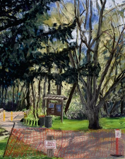 """The effect of the pandemic is reflected in """"Park Closed"""" by Britt Block (pastel on paper, 16 by 10 inches, 2020)."""