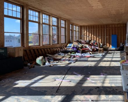 The Chehalem Cultural Center plans to transform this cluttered space on the south side of the building, which receives plenty of natural light, into a dance and movement studio. Photo by: David Bates