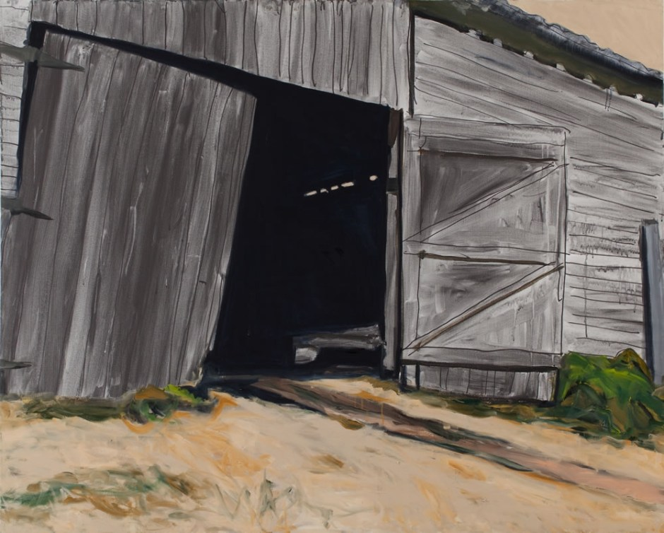 """Sandra Roumagoux says on her website that she uses a use a limited palette of warm and cool primary colors with white, such as in """"Kings Valley Barn 1,"""" (oil, 48 by 60 inches, 2012). She continues, """"Combining my love of paint with the landscape of the Pacific Northwest gives me unlimited subject matter and challenges."""""""