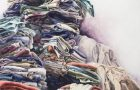 """Laundry, lots of it, is a theme in Bethany Hays' work, such as """"Her Majesty"""" (watercolor on paper, 30 by 48 inches, 2012)."""