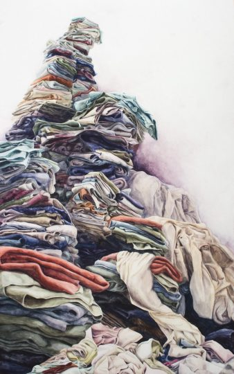 "Laundry, lots of it, is a theme in Bethany Hays' work, such as ""Her Majesty"" (watercolor on paper, 30 by 48 inches, 2012)."