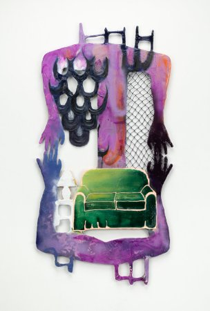 """Memories of her grandparents' home inspire Racheal Zur's work, including """"Immemorial Couch"""" (plaster, wood, netting, acrylic, spray paint, resin, fabric; 46 by 23.5 inches, 2019)."""