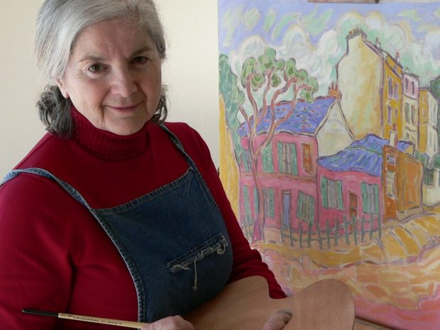 This portrait of Riva Wolf at work is one of her son's favorites. Photo courtesy: Gershon Wolf
