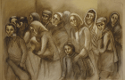 """Riva Wolf included her likeness (second from left) in this painting that was included in the 1986 show held in conjunction with the New York screening of """"Shoah"""" (photo reproduction of untitled lost oil painting from the """"Persistent Memories""""series)."""