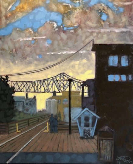 "After an initial reluctance to paint Astoria's iconic bridge and tankers, Paul Polson says he has embraced them with his own style, such as this oil, ""Astoria River Walk."""