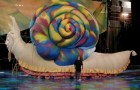 """Paul Polson has created giant inflatable sculptures for parades, rock bands, and Broadway. This colorful snail appeared in Cirque du Soleil's """"Mystère"""" show. Photo courtesy: Paul Polson"""