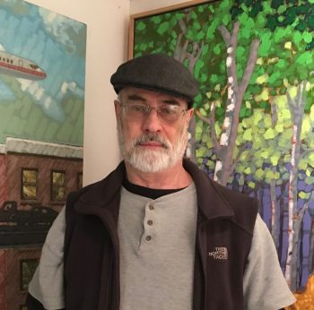 Artist Paul Polson came to Astoria in 2018 and says he loves the small town, as well as the response to his art – and to his dog, Joey.