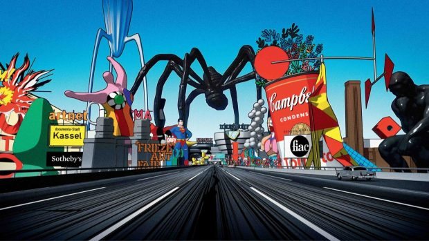"""Ludovic Houplain's 2019 animated film, """"My Generation,"""" is an eight-minute drive down a freeway where the scenery is a glitzy panorama of capitalism, finance, surveillance, sports, politics, religion, and mindless entertainment."""