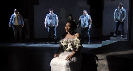 Mezzo-soprano Jasmine Johnson and the Portland Opera Chorus performing 'The Talk: Instructions for Black Children When They Interact with the Police.' Photo courtesy of Portland Opera.