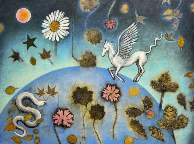 """""""Pegasus"""" by Lisa Brinkman (eco-prints of geranium, eucalyptus, and maple on raw silk canvas, cold wax and oils, 30 by 40 inches)"""