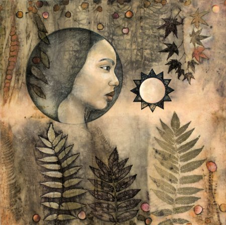 """Sophia's Garden"" by Lisa Brinkman (eco-prints of sumac, eucalyptus, and maple on raw silk canvas, cold wax and oils, 30 by 30 inches)"