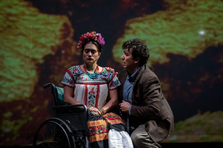 Catalina Cuervo as Frida and Bernardo Bermudez as Diego in Portland Opera's production of Frida. Photo by Trace Downen.