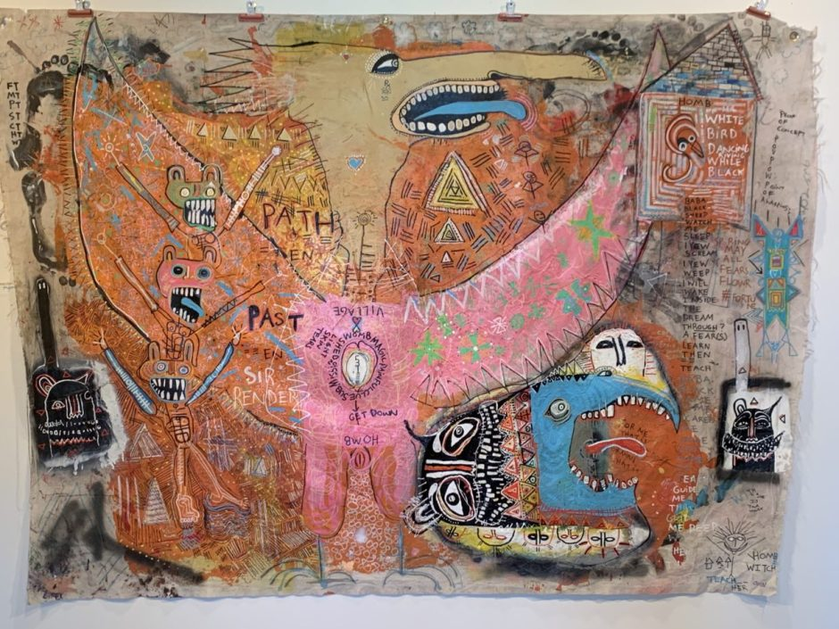 """White Bird Dancing,"" by MO WO (MOsley WOtta) (mixed media, 3 by 4 feet, 2017)."
