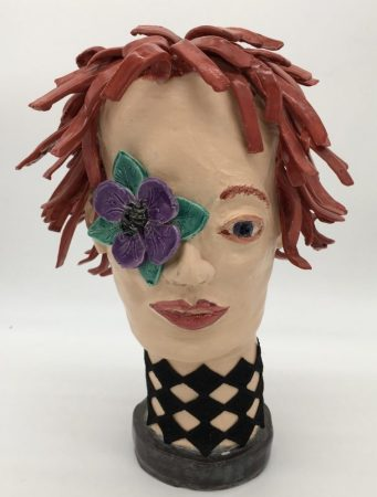 """""""Late Bloomer,"""" by Sam Jacobson (clay sculpture, 12 by 8 inches)"""