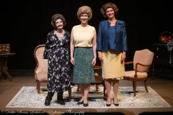 """Sharon Morgan (from left), Cathy Willoughby, and Holly Spencer portrayed former First Ladies Lady Bird Johnson, Pat Nixon and Betty Ford in """"Tea for Tree,"""" which had its final performance Sunday at Gallery Theater in McMinnville. Photo by: Debbie Slocum Lockwood of Reflections Photography for Gallery Theater."""