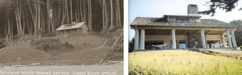 The original Oswald West cabin (left) was built in 1913 by the Oregon governor responsible for Oregon's beach highway law, which declared the entire Pacific coastline to the high tide to be public highway. After it burned in 1991, the owners, descendants of the home's third owner, Dr. Harry M. Bouvy, built a replica of the home on the site. Photo courtesy: Cannon Beach History Center and Museum