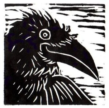 """Phyllice Bradner will talk about printmaking – such as this piece, """"Trickster,"""" part of her raven series -- Oct. 16 at Currents Gallery."""