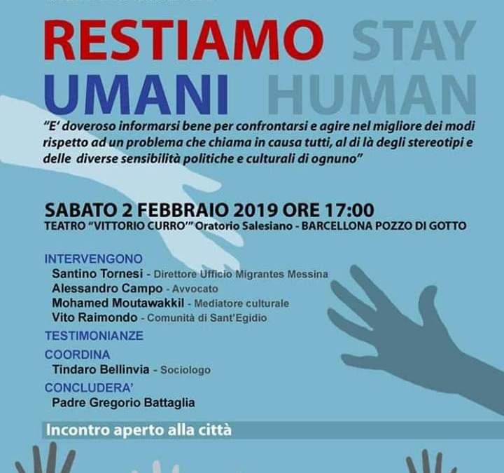 """Barcellona PG. """"Restiamo Umani"""", incontro-dibattito all'Oratorio Salesiano"""