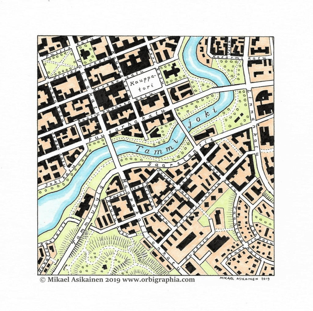 Tammijoki, a fictional city map