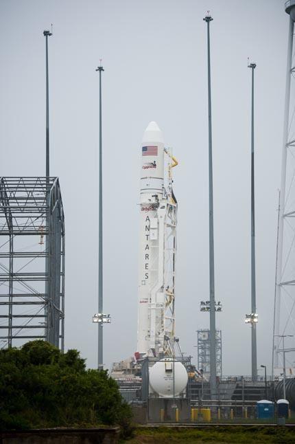 Antares Rocket Raised at Launch Pad