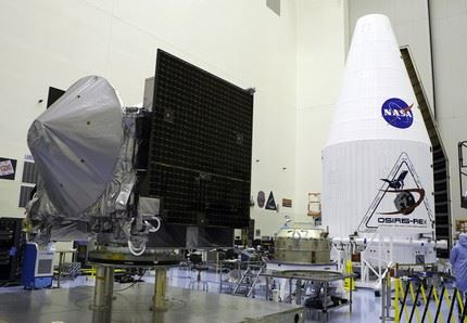 Photos of OSIRIS-REx spacecraft with the ULA fairing inside the PHSF; angles of the setup for Media Day - sent to proper ITAR personnel for review of setup - Cleared to post to Flickr.