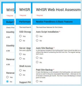 Our 1-point Web Host assessment form.