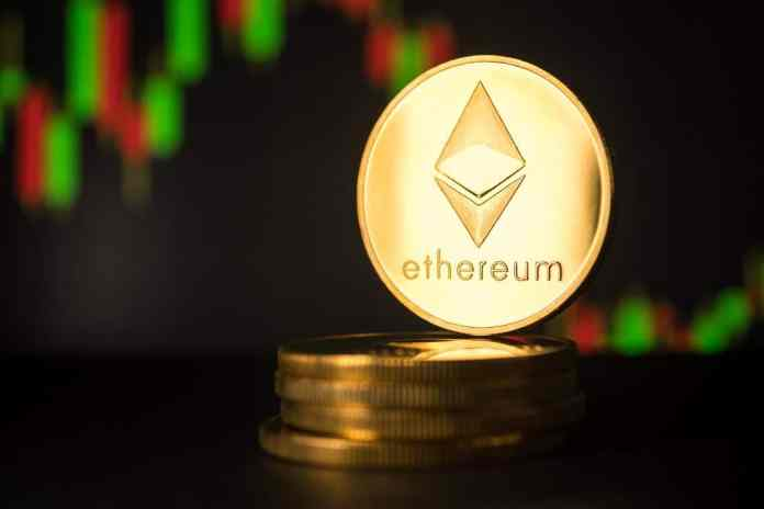 Picture of an Ethereum coin standing on top five stacked Etheruem coins, with a candlestick chart behind it