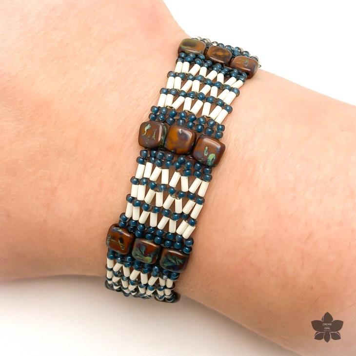 Bugle Bead Netting and Tile Bracelet