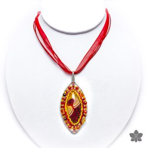 Horse Eye Agate Bezeled Pendant Necklace Red
